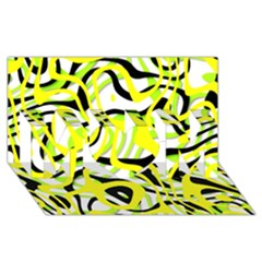 Ribbon Chaos Yellow MOM 3D Greeting Card (8x4)