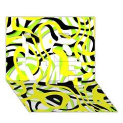 Ribbon Chaos Yellow Love 3d Greeting Card (7x5)