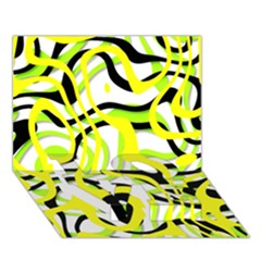 Ribbon Chaos Yellow LOVE Bottom 3D Greeting Card (7x5)