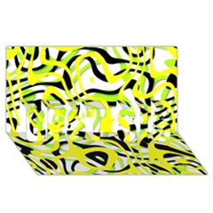 Ribbon Chaos Yellow BEST SIS 3D Greeting Card (8x4)