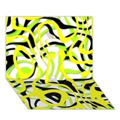 Ribbon Chaos Yellow Ribbon 3d Greeting Card (7x5)