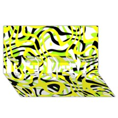 Ribbon Chaos Yellow BELIEVE 3D Greeting Card (8x4)