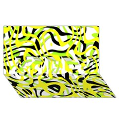 Ribbon Chaos Yellow SORRY 3D Greeting Card (8x4)