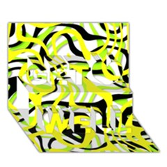 Ribbon Chaos Yellow Get Well 3D Greeting Card (7x5)