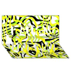 Ribbon Chaos Yellow Laugh Live Love 3D Greeting Card (8x4)