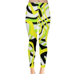 Ribbon Chaos Yellow Women s Leggings