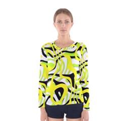 Ribbon Chaos Yellow Women s Long Sleeve T Shirts