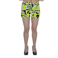 Ribbon Chaos Yellow Skinny Shorts