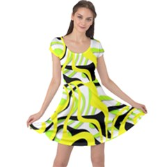 Ribbon Chaos Yellow Cap Sleeve Dresses