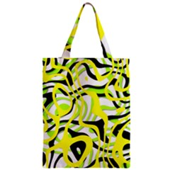 Ribbon Chaos Yellow Zipper Classic Tote Bags