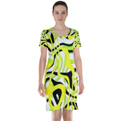 Ribbon Chaos Yellow Short Sleeve Nightdresses