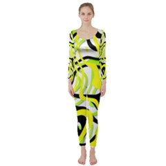 Ribbon Chaos Yellow Long Sleeve Catsuit