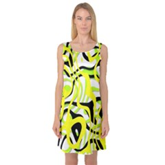Ribbon Chaos Yellow Sleeveless Satin Nightdresses