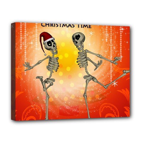 Dancing For Christmas, Funny Skeletons Canvas 14  x 11