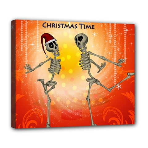 Dancing For Christmas, Funny Skeletons Deluxe Canvas 24  x 20