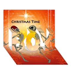 Dancing For Christmas, Funny Skeletons Boy 3d Greeting Card (7x5)