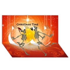 Dancing For Christmas, Funny Skeletons Twin Hearts 3D Greeting Card (8x4)