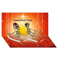 Dancing For Christmas, Funny Skeletons Twin Heart Bottom 3d Greeting Card (8x4)