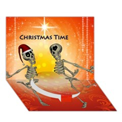 Dancing For Christmas, Funny Skeletons Circle Bottom 3D Greeting Card (7x5)