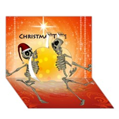 Dancing For Christmas, Funny Skeletons Apple 3D Greeting Card (7x5)
