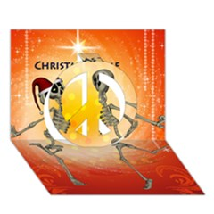 Dancing For Christmas, Funny Skeletons Peace Sign 3D Greeting Card (7x5)