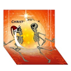 Dancing For Christmas, Funny Skeletons Circle 3D Greeting Card (7x5)