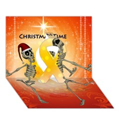Dancing For Christmas, Funny Skeletons Ribbon 3d Greeting Card (7x5)