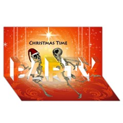 Dancing For Christmas, Funny Skeletons PARTY 3D Greeting Card (8x4)