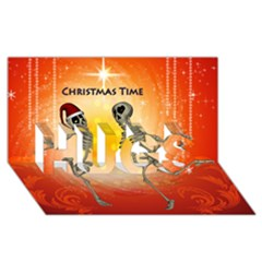 Dancing For Christmas, Funny Skeletons HUGS 3D Greeting Card (8x4)