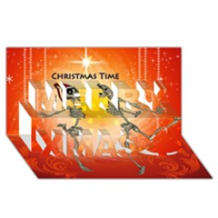Dancing For Christmas, Funny Skeletons Merry Xmas 3d Greeting Card (8x4)