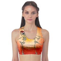 Dancing For Christmas, Funny Skeletons Sports Bra