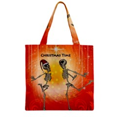Dancing For Christmas, Funny Skeletons Zipper Grocery Tote Bags