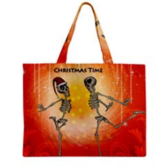 Dancing For Christmas, Funny Skeletons Zipper Tiny Tote Bags