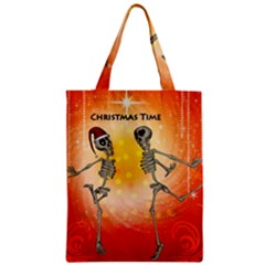 Dancing For Christmas, Funny Skeletons Zipper Classic Tote Bags