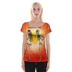 Dancing For Christmas, Funny Skeletons Women s Cap Sleeve Top