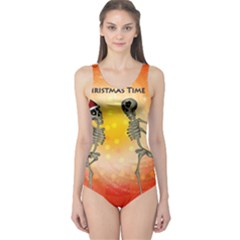 Dancing For Christmas, Funny Skeletons Women s One Piece Swimsuits