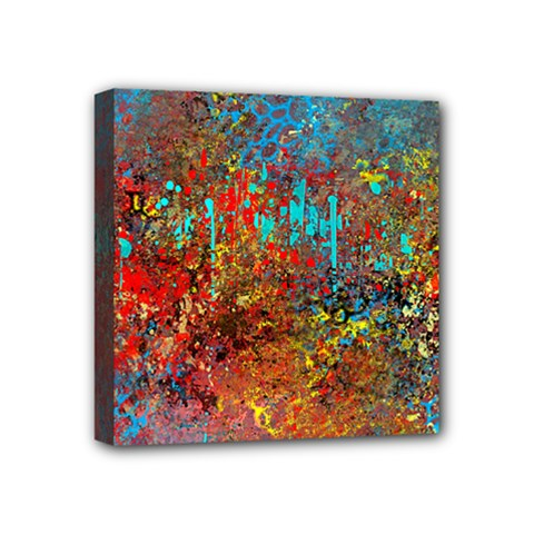 Abstract In Red, Turquoise, And Yellow Mini Canvas 4  X 4