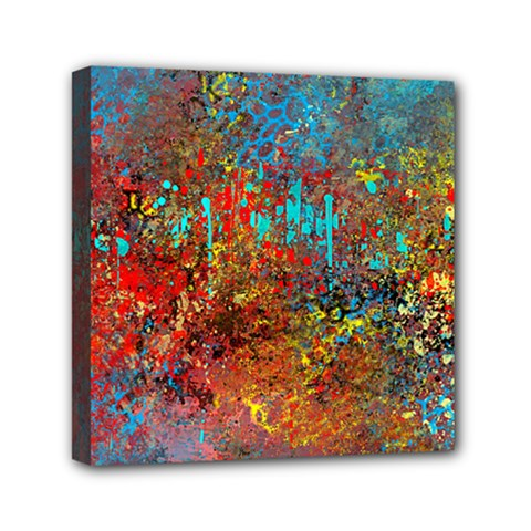 Abstract in Red, Turquoise, and Yellow Mini Canvas 6  x 6
