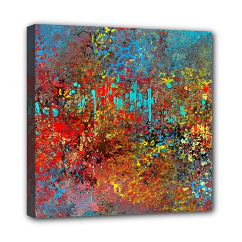 Abstract In Red, Turquoise, And Yellow Mini Canvas 8  X 8