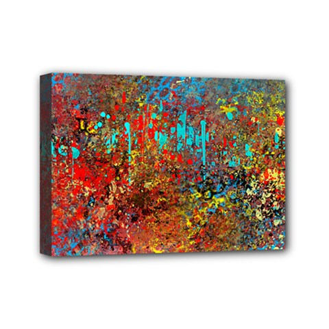 Abstract in Red, Turquoise, and Yellow Mini Canvas 7  x 5