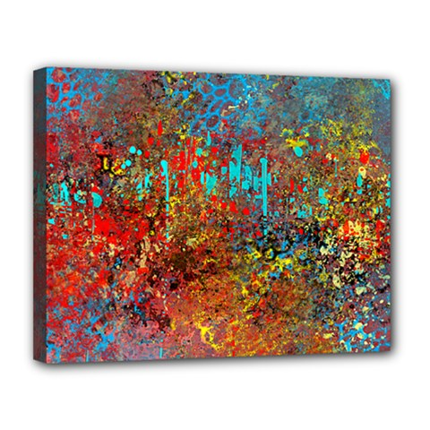 Abstract In Red, Turquoise, And Yellow Canvas 14  X 11