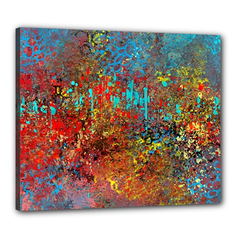 Abstract in Red, Turquoise, and Yellow Canvas 24  x 20