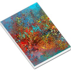 Abstract In Red, Turquoise, And Yellow Large Memo Pads