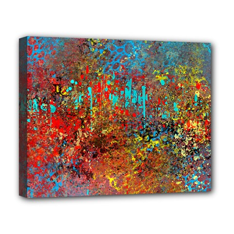 Abstract in Red, Turquoise, and Yellow Deluxe Canvas 20  x 16