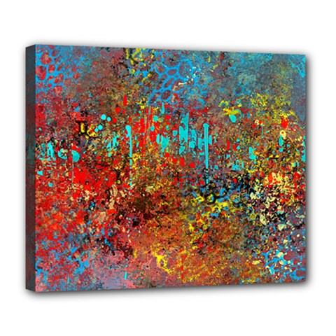 Abstract in Red, Turquoise, and Yellow Deluxe Canvas 24  x 20