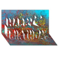 Abstract in Red, Turquoise, and Yellow Happy Birthday 3D Greeting Card (8x4)