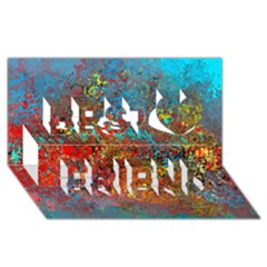 Abstract In Red, Turquoise, And Yellow Best Friends 3d Greeting Card (8x4)