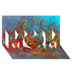 Abstract in Red, Turquoise, and Yellow MOM 3D Greeting Card (8x4)