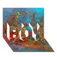 Abstract in Red, Turquoise, and Yellow BOY 3D Greeting Card (7x5)
