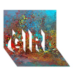 Abstract in Red, Turquoise, and Yellow GIRL 3D Greeting Card (7x5)
